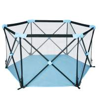 LUCKYERMORE Portable Playpen Kids Play Yard Activity Center with Carry Case Mesh Side ,Washable Oxford Cloth & Sturdy Metal Tube Safe for Indoor Outdoor Use,Lápiz De Bebé