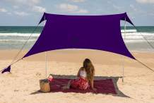 Family Beach Tent Canopy Sunshade with Sandbag Anchors - Simple & Versatile. SPF50, Lycra Sun shelter for The Beach,Camping and Outdoors