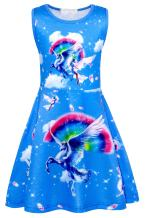 Cotrio Little Girls' Unicorn Dress Toddler Sleeveless Rainbow Birthday Theme Party Dresses Size 6 (120, 5-6Years, Blue)