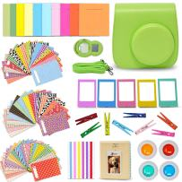Xtech Fuji Instax Mini 9/8 Lime Green Accessories Kit Includes Camera Case, Mini Photo Album, 120 Colorful Sticker Frames, Colorful Hanging Frames, Clips/String + Assorted Mini 9 Accessories