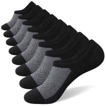 No Show Socks for Men 8 pack Cotton Thin Low Cut Non Slip for Loafer Flats Sneakers 6-11/12-15