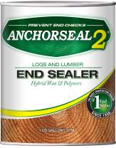 ANCHORSEAL 2 Hybrid Log & Lumber end Grain Sealer - Water-Based Wax & Polymer Prevents up to 90% of end Checking (Drying Splits) on Cut Ends. Green Wood Sealer for Turning Blanks & Bowls. (1 Gallon)