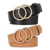 2 Pack Double Ring Belt for Women, Faux Leather Jeans Belts with Golden Circle Buckle