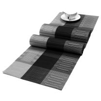 SHACOS Woven Vinyl Table Runner PVC Table Runner 54x12 inch Wipe Clean Indoor Outdoor (Ombre Black and Gray)