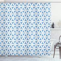 """Ambesonne Abstract Shower Curtain, Flower of Life Traditional Alchemy Disc Cosmos Meditation Pattern, Cloth Fabric Bathroom Decor Set with Hooks, 84"""" Long Extra, Pale Blue"""