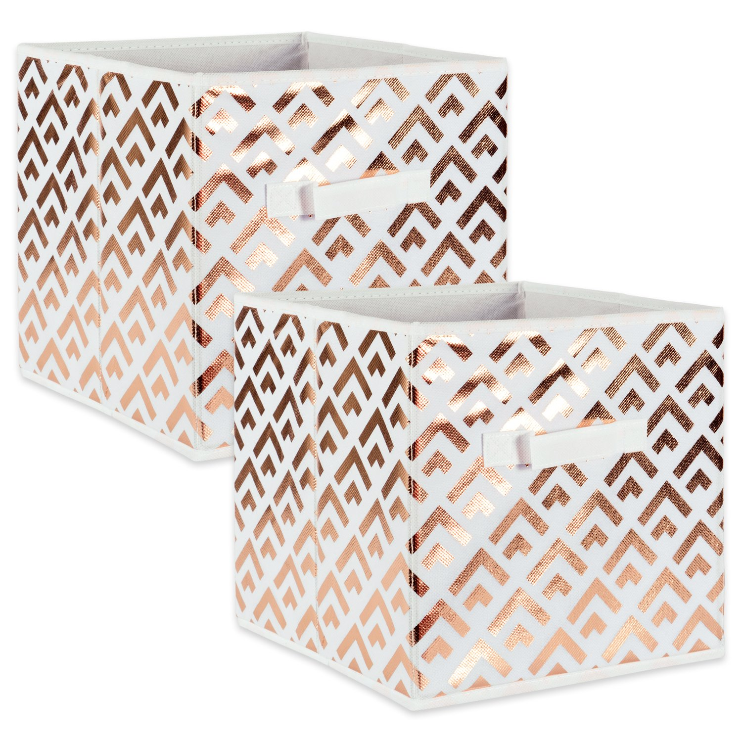 "DII Fabric Storage Bins for Nursery, Offices, & Home Organization, Containers Are Made To Fit Standard Cube Organizers (11x11x11"") Double Diamond Copper on White - Set of 2"