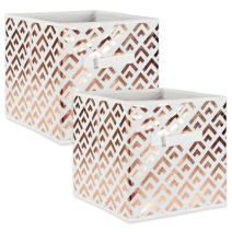 """DII Fabric Storage Bins for Nursery, Offices, & Home Organization, Containers Are Made To Fit Standard Cube Organizers (13x13x13"""") Double Diamond Copper on White - Set of 2"""