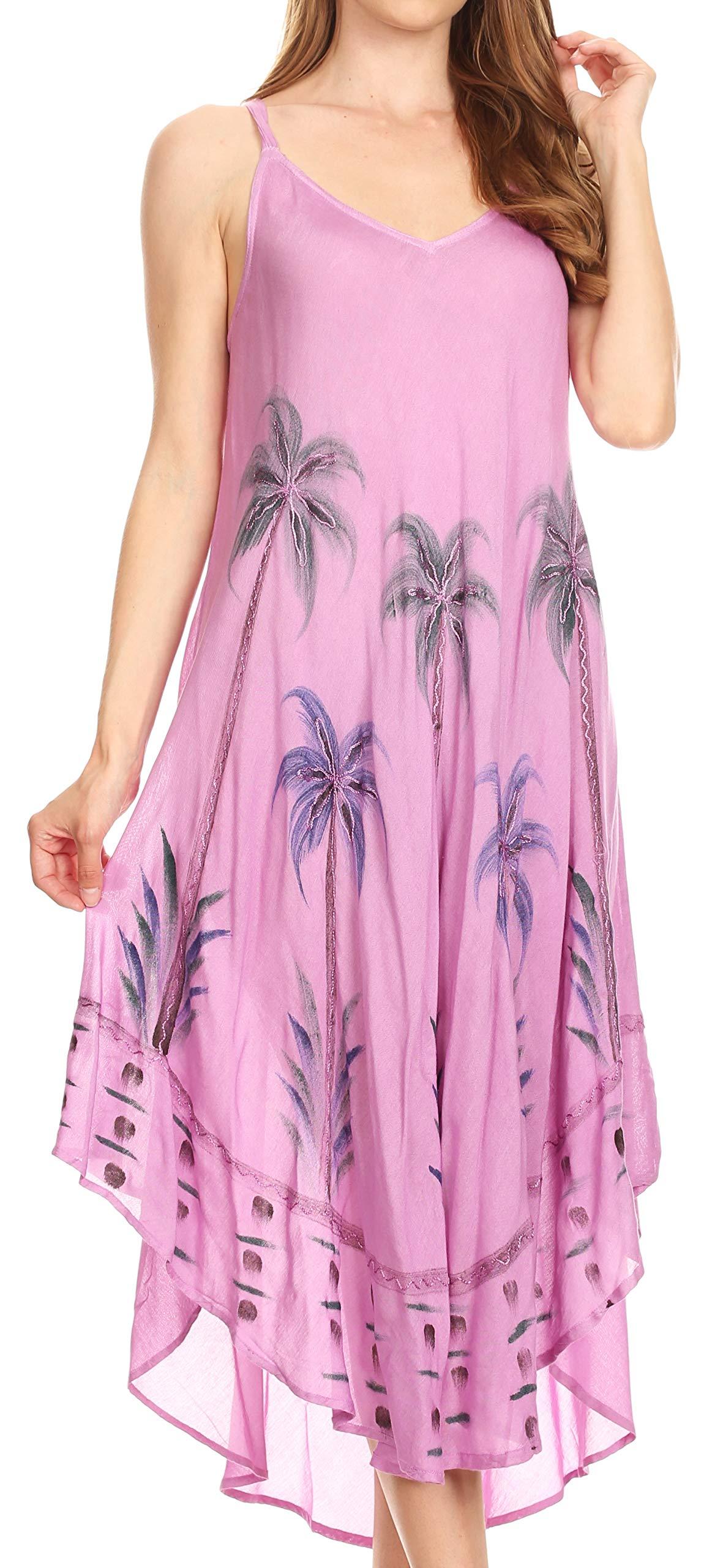 Sakkas 19333 - Nila Women's Double Spaghetti Strap V-Neck Casual Maxi Long Summer Dress - Purple - OS