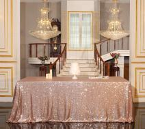 """PartyDelight Sequin Tablecloth, Wedding, Dinning Table, Rectangular, 90""""x132"""", Rose Gold"""