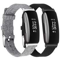 LORDSON Wrist Band Compatible with Fitbit Inspire 2 / Inspire HR/Inspire, 2-Pack Comfortable Woven Fabric Quick Release Strap Replacement Wristbands for Inspire Fitness Tracker/Ace 2