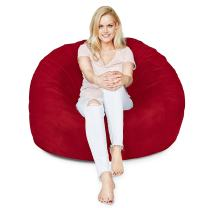 Lumaland Luxury Bean Bag Chair - 4' Ultra Soft Bean Bag with Microsuede Cover - Machine Washable Big Bean Bag, Ideal Furniture for Kids Bedroom, Dorm Room and Living Room - Red
