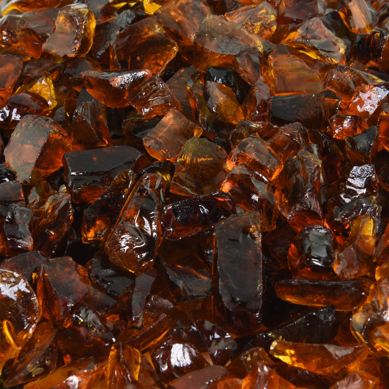 Cowboy Brown - Crushed Fire Glass for Indoor and Outdoor Fire Pits or Fireplaces | 10 Pounds | 1/2 Inch - 3/4 Inch