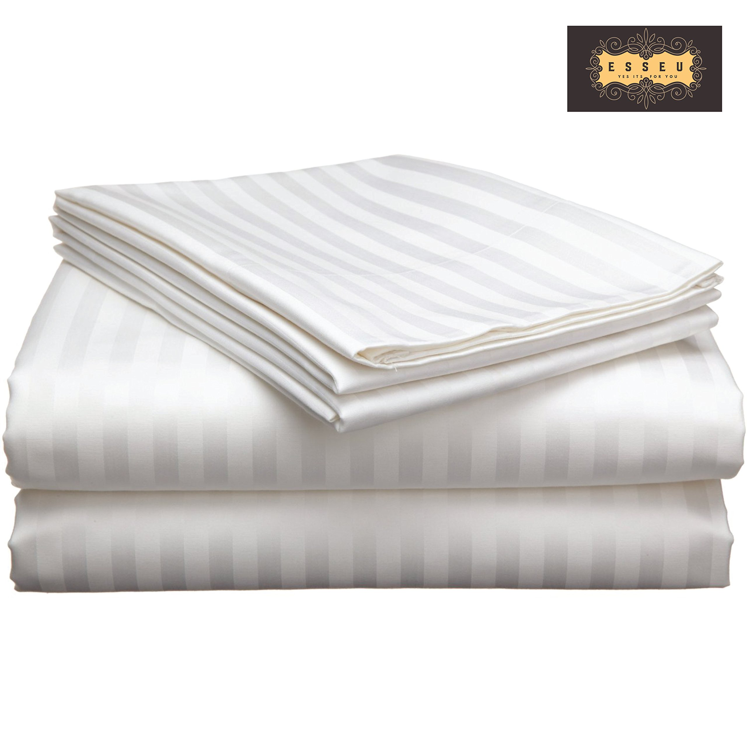 ESSEU 300 Thread Count 100% Cotton Sheet Set, Damask Stripe,Soft Sateen Weave, Deep Pockets,Home & Hotel Collection,Luxury Bedding Super Sale 100% Cotton (Queen, White)