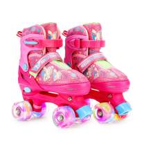 RunRRIn Roller Skates for Kids Girls with Light up Wheels, Adjustable Size for Indoor and Outdoor