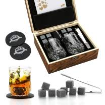 Whiskey Stones and Whiskey Glass Gift Box Set - 8 Granite Chilling Whisky Rocks + 2 Glasses in Wooden Box - Best Gift for Men Father's Day Dad's Birthday