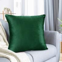 """Nestl Bedding Throw Pillow Cover 26"""" x 26"""" Soft Square Decorative Throw Pillow Covers Cozy Velvet Cushion Case for Sofa Couch Bedroom - Hunter Green"""