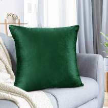 """Nestl Bedding Throw Pillow Cover 18"""" x 18"""" Soft Square Decorative Throw Pillow Covers Cozy Velvet Cushion Case for Sofa Couch Bedroom - Hunter Green"""