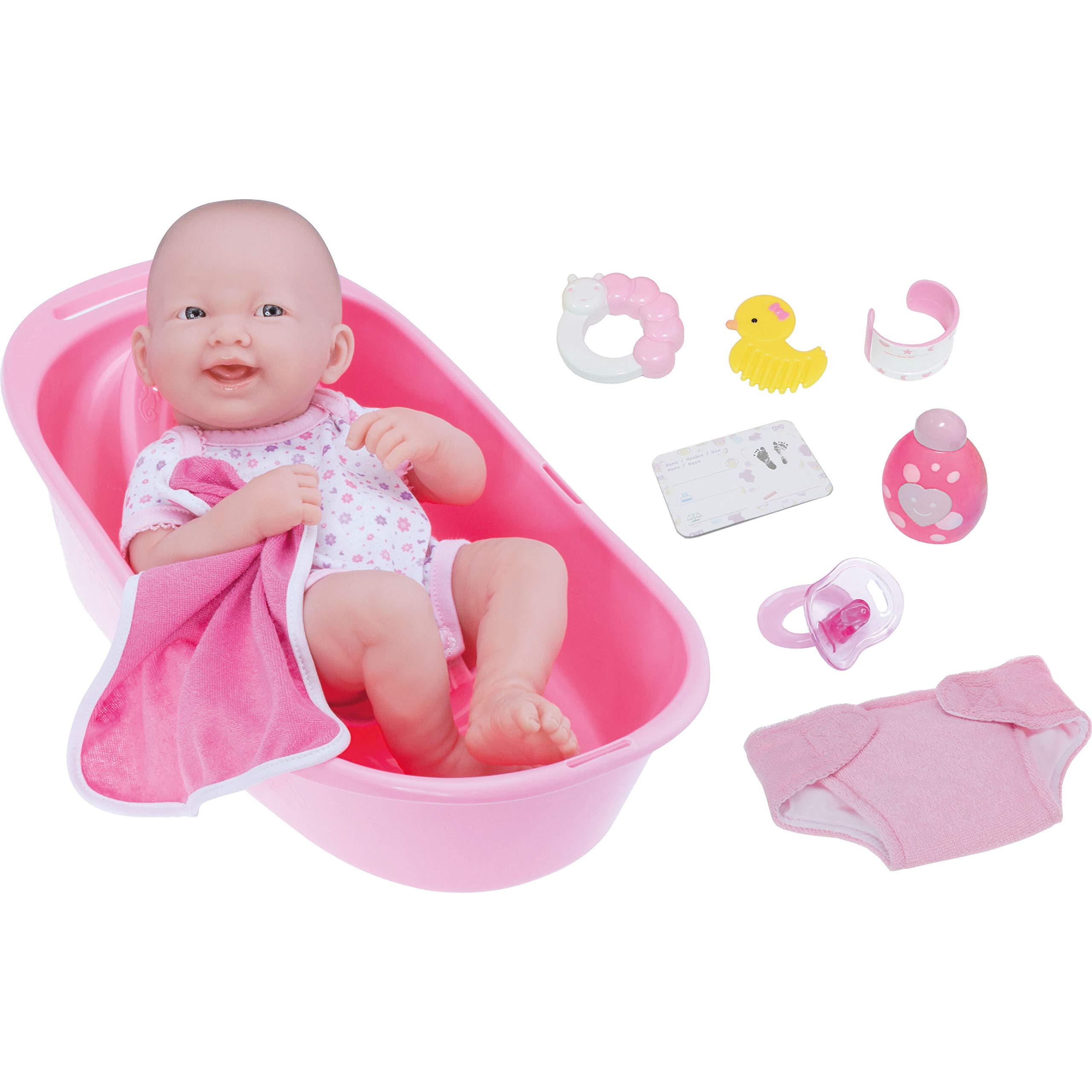 "LA NEWBORN 8 Piece Deluxe BATHTUB GIFT SET, featuring 14"" Life-Like All Vinyl Smiling Baby Newborn Doll, Pink"