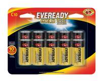 Eveready C Cell Alkaline Batteries, Gold (10 Count)