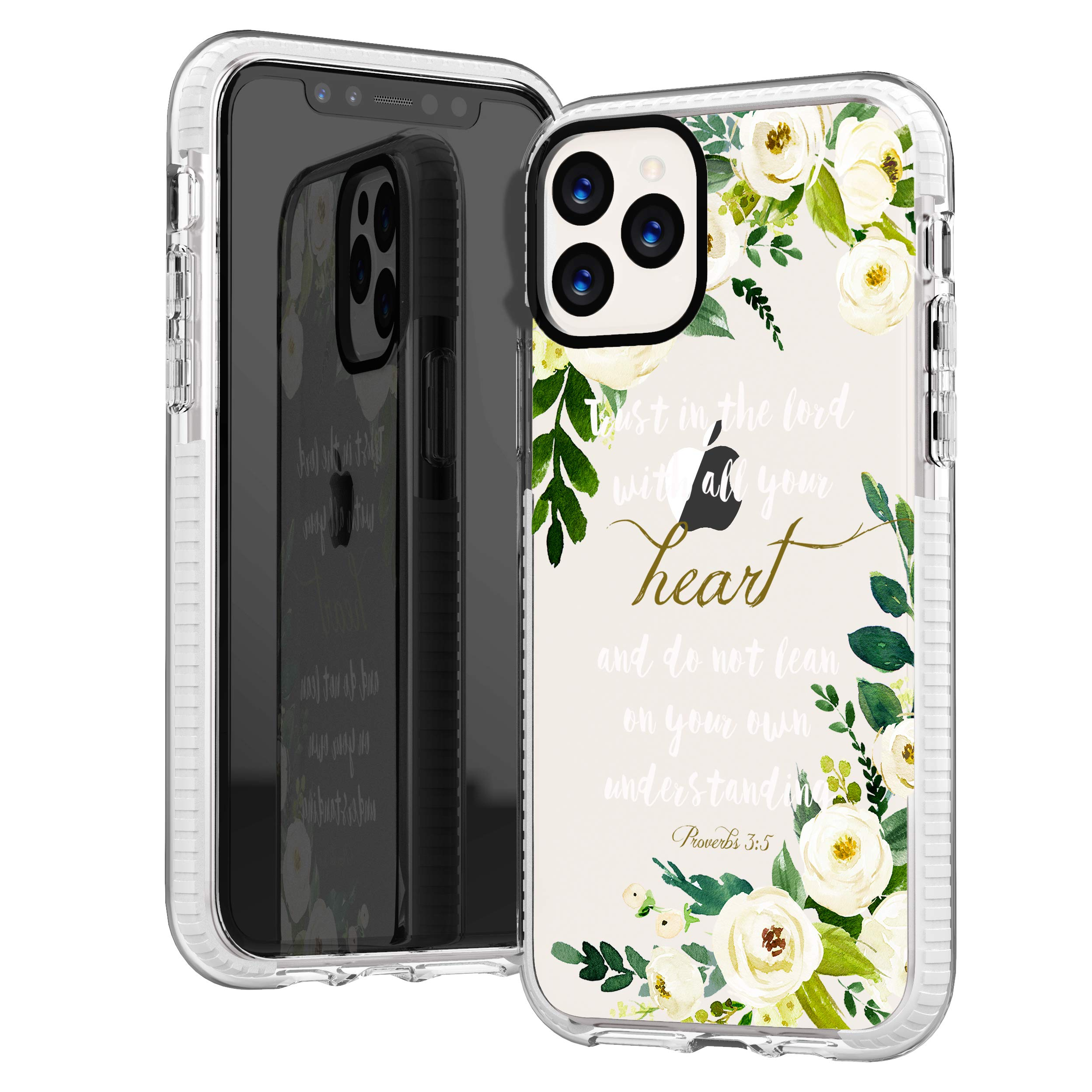 iPhone 11 Pro Max Case,Cute Bible Verses Quotes Flowers Florals White Roses Christian Proverbs 3:5 Inspirational Girls Women Soft Protective Clear Case with Design Compatible for iPhone 11 Pro Max