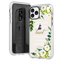 iPhone 11 Pro Clear Case,Cute Bible Verses Quotes Flowers Florals White Roses Christian Proverbs 3:5 Inspirational Girls Women Soft Protective Clear Case with Design Compatible for iPhone 11 Pro