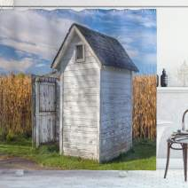 """Ambesonne Outhouse Shower Curtain, Country Farm Life Cottage with Wheat and Grass Under Sky Image, Cloth Fabric Bathroom Decor Set with Hooks, 75"""" Long, Marigold White"""