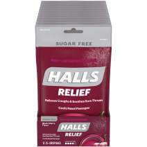 HALLS Relief Black Cherry Sugar Free Cough Drops, 12 Pack - 25 Drops