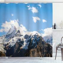 """Ambesonne Mountain Shower Curtain, Snowy Mountain Scenery in The Summertime Cloudy Sky Natural Beauty Pattern, Cloth Fabric Bathroom Decor Set with Hooks, 70"""" Long, White Blue"""
