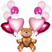 Valentine's Day Party Supplies 41 Pack Teddy Bear Foil Balloons Magenta Pink Heart Foil Balloon and Pink White Balloons for Wedding Birthday Baby Shower Party Decorations