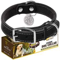 ADITYNA Leather Dog Collar - Soft and Strong Genuine Leather Collar - Heavy Duty Dog Collars for Small, Medium, Large and Extra Large Dogs