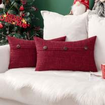 MIULEE Set of 2 Decorative Linen Throw Pillow Covers Cushion Case Triple Button Vintage Farmhouse Pillowcase for Couch Sofa Bed Christmas Decor 12 x 20 Inch Wine Red
