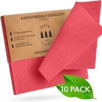 SUPERSCANDI Swedish Dishcloths Eco Friendly Reusable Sustainable Biodegradable Cellulose Sponge Cleaning Cloths for Kitchen Dish Rags Washing Wipes Paper Towel Replacement Washcloths (10 Pack Red)