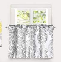 DriftAway Samantha Floral Damask Medallion Pattern Kitchen Tier Window Treatment 2 Panels Each 30 Inch by 36 Inch Plus 1 Inch Header Gray