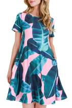 Women's Pink Palm Leaf Print Fit and Flare Dress with Pockets - Casual Summer Beach Sundress Size Small