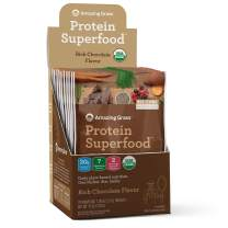 Amazing Grass Protein Superfood: Vegan Protein Powder, All-in-One Nutrition Shake, Rich Chocolate, 10 Single Serve Packets