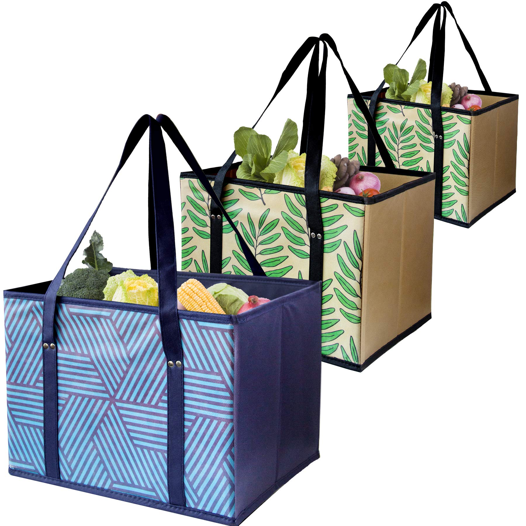 Reusable Shopping Box Grocery Bag,Shopping Tote Bag with Extra Long Handles,Eco-Friendly, Large, Durable, Foldable with Reinforced Sides and Bottoms- Set of 3 (Blue+Navy Beige)