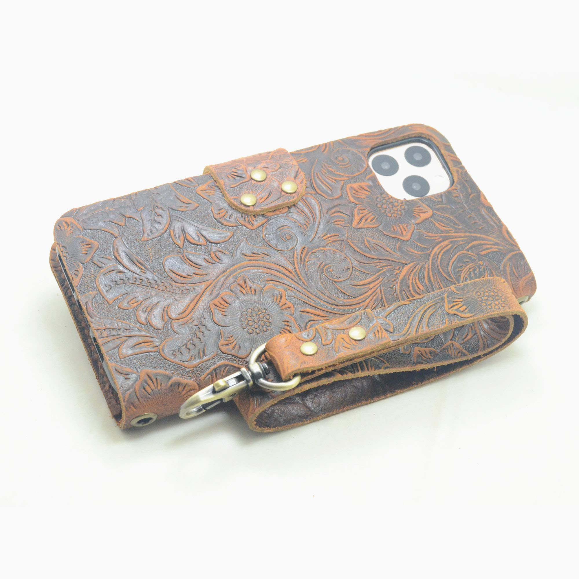 JJNUSA Handmade Genuine Distressed Leather Wallet Case for iPhone 11 Pro Max 6.5 inches Flip Cover with Wristlet Brown