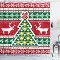 "Ambesonne Christmas Shower Curtain, Nordic Deer Noel Yuletide Tree Snowflakes Christmas Season Composition, Cloth Fabric Bathroom Decor Set with Hooks, 70"" Long, Green Vermilion"