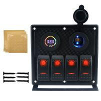 IZTOSS 12V-24V DC 4 Gang Waterproof Marine red led Switch Panel with Power Socket and USB