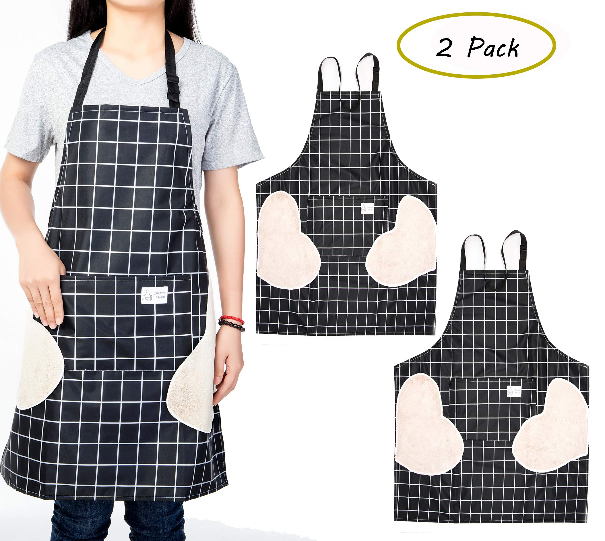 Hioffer 2 Pack Erasable Hand Waterproof Kitchen Apron Women's Stripe Apron with Pocket Adjustable Strap for Cooking, Baking, BBQ and Gardening (Black x 2)