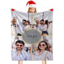 60 x 80 Blanket Gifts for Grandma Personalized Collage Fleece Blanket with My Own Photos Customized Blankets for Boyfriend,Husband,Family,as Souvenirs Birthday Gifts