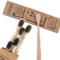 Wide Head Bamboo Toothbrush with Extra Soft Charcoal Bristles - Eco Friendly, Biodegradable Tooth Brush,   Ergonomic Handles Made from Sustainable Bamboo   6 Pack