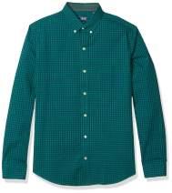 IZOD Men's Fit Button Down Long Sleeve Stretch Performance Gingham Shirt, Verdant Green, Large Tall Slim