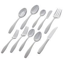Amazon Brand – Stone & Beam Traditional Stainless Steel Flatware Silverware Set, Service for 8, 45-Piece, Silver with Square Brushed Trim