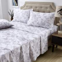 FADFAY Sheet Set Cal King Farmhouse Bedding Shabby Floral Vintage Bedding 100% Cotton Super Soft Hypoallergenic White and Grey Deep Pocket Fitted Sheet 4-Pieces California King Size