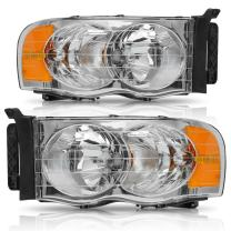 AUTOSAVER88 Headlight Assembly Compatible with 2002-2005 Dodge Ram Pickup Truck OE Style Replacement Headlamps Chrome Housing with Amber Reflector Clear Lens (Passenger and Driver side)