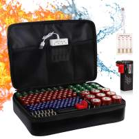 Battery Organizer Storage Case with Tester, Fireproof Waterproof Batteries Holder Bag With Battery Charger Safe Box Holds 200+ Batteries AA AAA C D 9V Lithium Coin