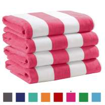 """Great Bay Home 4 Pack Plush Velour 100% Cotton Beach Towels. Cabana Stripe Pool Towels for Adults. (Pink, 4 Pack- 30"""" x 60"""")"""