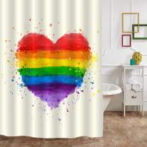 """MitoVilla Rainbow Heart Shower Curtain Set with Hooks, Grunge Heart Watercolor Bathroom Accessories for Contemporary Home Decororation, 72"""" W x 78"""" L Long"""