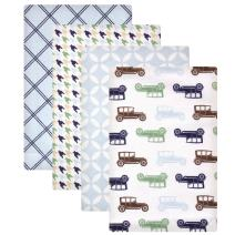 Hudson Baby Unisex Baby Cotton Flannel Receiving Blankets, Blue Cars, One Size